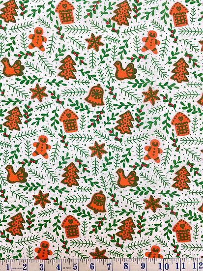 White Gingerbread & Mistletoe Christmas Polycotton Fabric