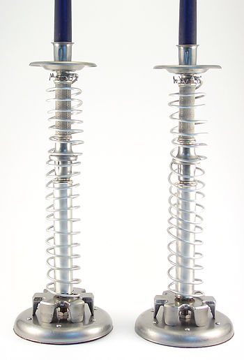 Little By Little - Machine Age Candle Stick Pair