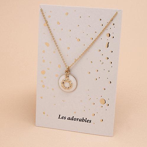 ADORABLES Collier Fleur Gros Coeur Emaillé