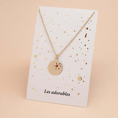 ADORABLES Collier Fleur Petit Coeur Emaillé