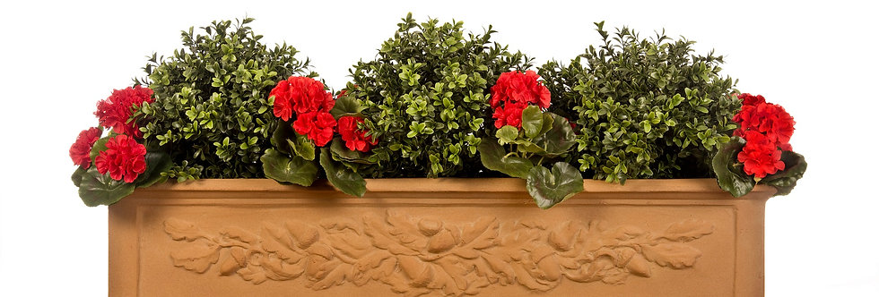 Artificial Box Balls with Geraniums in Oakleaf Window Box