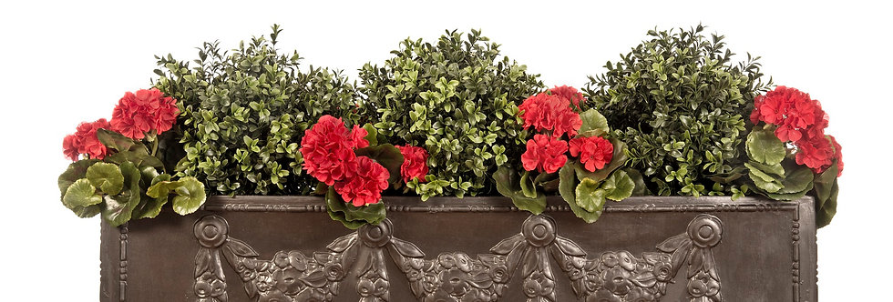 Artificial Box Balls with Geraniums in Swag Window Box