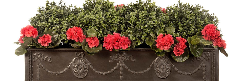 Artificial Box Balls with Geraniums and Adam Window Box
