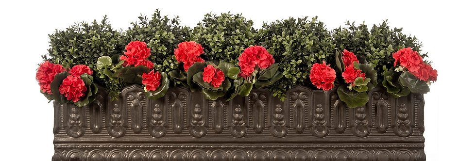 Artificial Box Balls with Geraniums in Pinot Noir Window Box