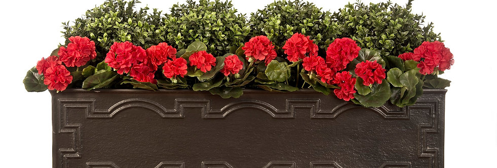 Artificial Box Balls with Geraniums in Hampton Window Box