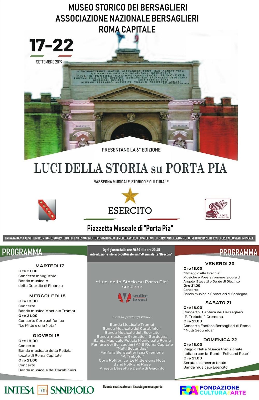 Luci della storia su Porta Pia