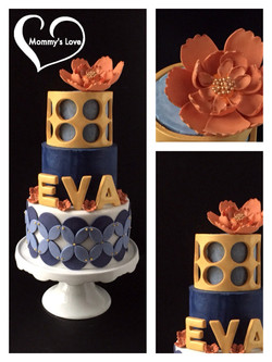 Gold & Blue with Orange Flowers_Collaboration_ Les Cocottes Popotent