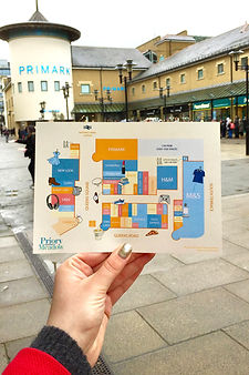 An illustrated map of Priory Meadow Shopping Centre Hastings. Illustrated by Els Christensen