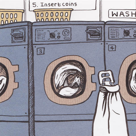 Quiet Down There Laundrette Washing Machine Collage