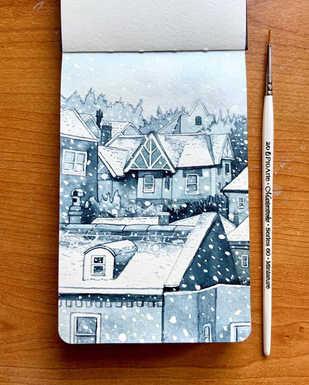 Snowy rooftops watercolour sketchbook
