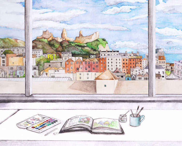 The view from my desk in the Illustration studio at university.