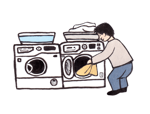 Person using washing machine