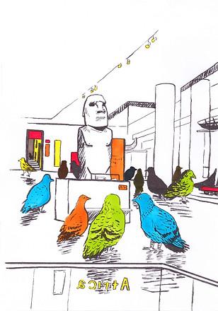 Multicoloured pigeons sketch