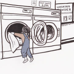 Quiet Down There Laundrette Illustration