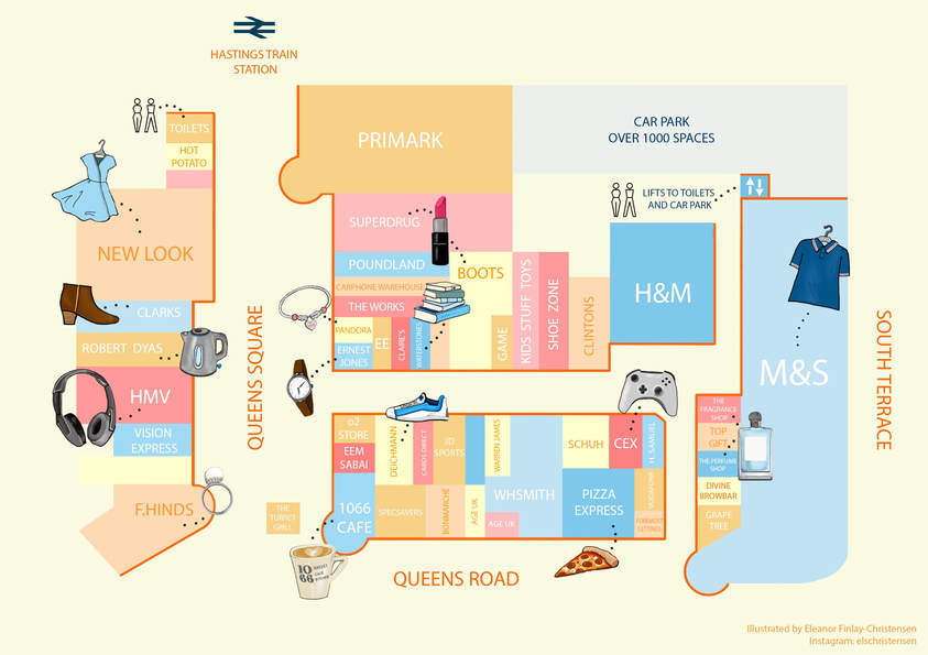 Priory Meadow Shopping Centre Map - alternate paler version