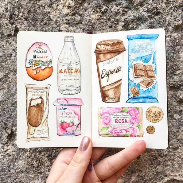 Spanish packaging sketchbook, Mallorca, Spain.