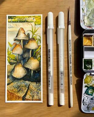 Glistening Inkcap Mushrooms Watercolour Illustration