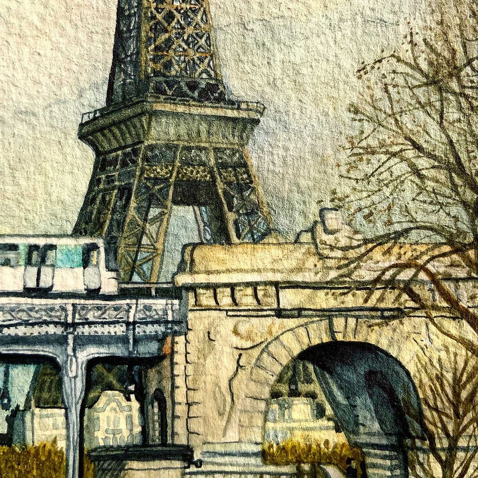 Eiffel Tower, Paris, watercolour on paper