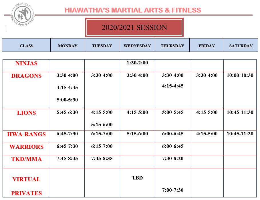 TKD Class Schedule