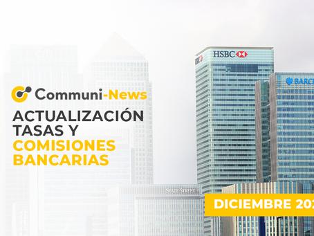 Actualización tasas y comisiones bancarias