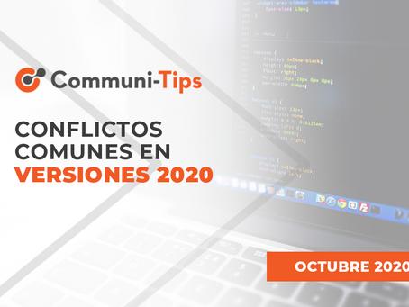 Conflictos comunes en versiones 2020