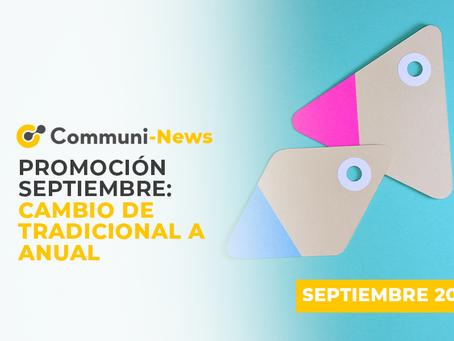 Promoción septiembre: cambio de tradicional a anual
