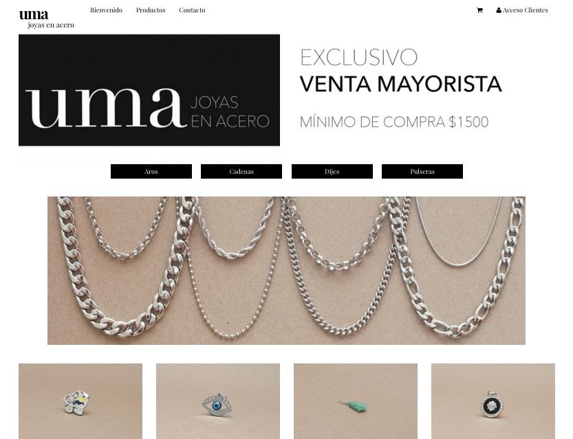 Sitio web UMA Joyas en acero