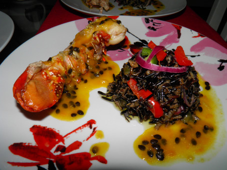 Nigerian Nights - Week 2 - Coconut rice served with baked lobster tail in a passion fruit sauce - Ni