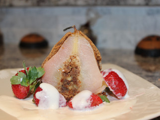 Baked Almond-stuffed Pear with Vanilla Sauce and Fresh Strawberries - Sweden