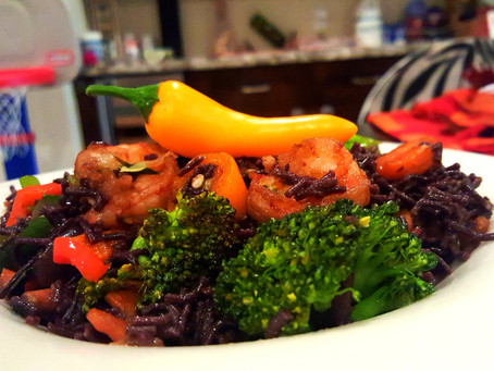 Spring Freshness - Week 2 - Black rice noodle shrimp and vegetable stir fry