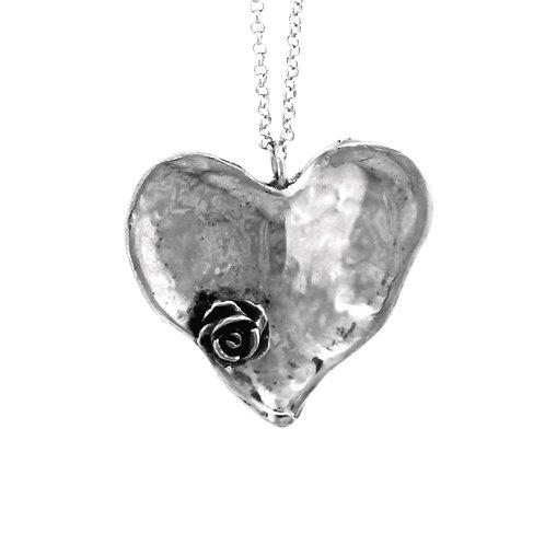 Colar Coração Flor