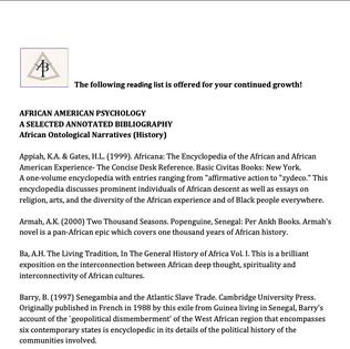 AFRICAN AMERICAN PSYCHOLOGY: A SELECTED ANNOTATED BIBLIOGRAPHY African Ontological Narratives