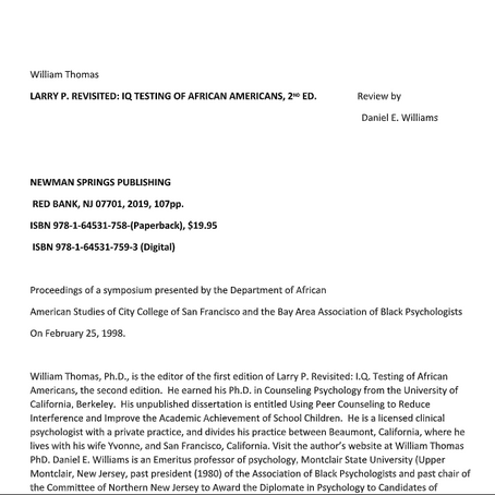 LARRY P. REVISITED: IQ TESTING OF AFRICAN AMERICANS, 2 ND ED.