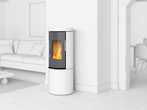 RAIS JUNO White Ceramics 120 Classic Steel Framed Door Wood Burning Stove