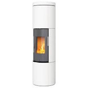 RAIS JUNO White Ceramics 160 Classic Steel Framed Door Wood Burning Stove