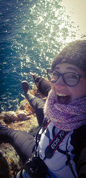 Muriel on a cliff edge