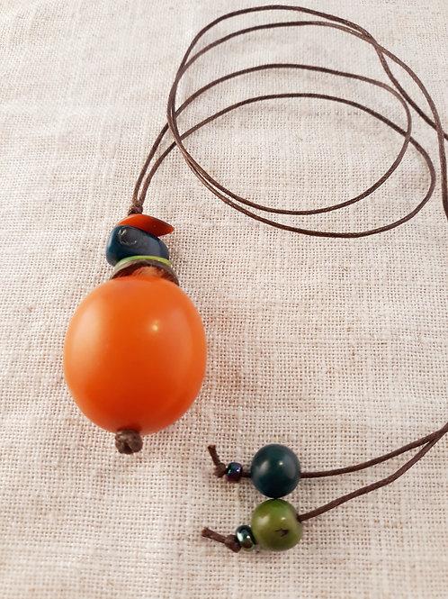 Pendentif tagua Orange