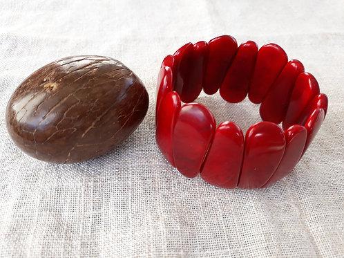 Bracelet tagua rouge