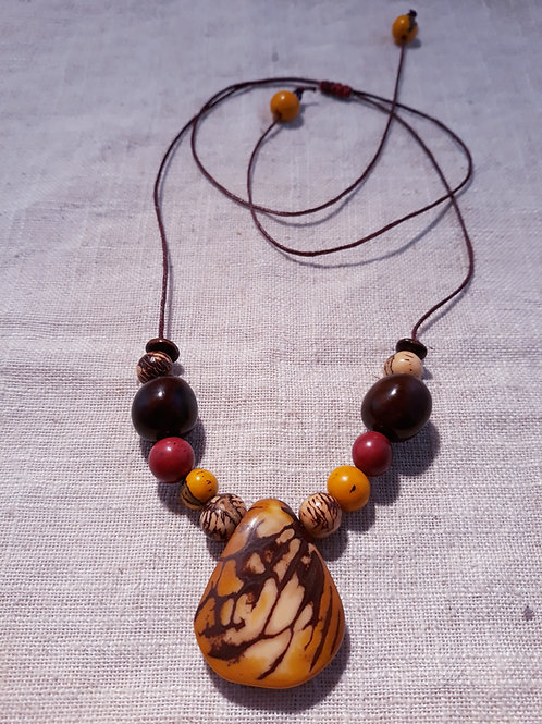 Collier 1 goutte tagua Moutarde