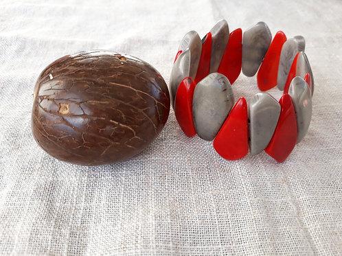 Bracelet tagua rouge et gris
