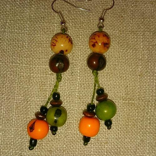 Boucles 4 açaï naturel/marron/orange et kaki