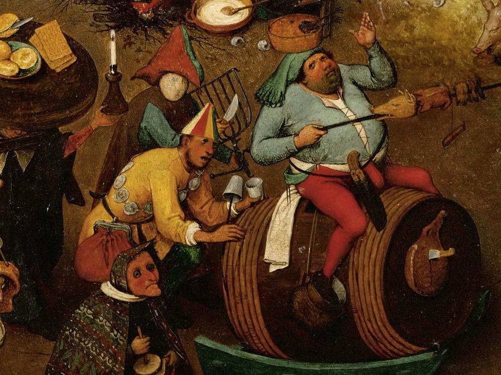Il vino, distribuito in grandi quantità, rappresentava allora il mezzo migliore per abbandonarsi al caos festoso dei rituali di Febbraio