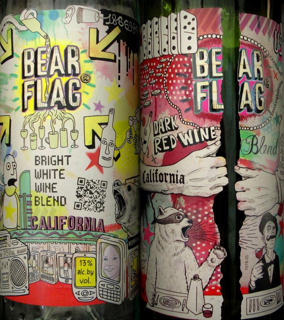 Bear Flag. Vino Zinfandel di Sonoma County, California. Vini, potenti ed austeri, hanno creato una collezione con etichette pop