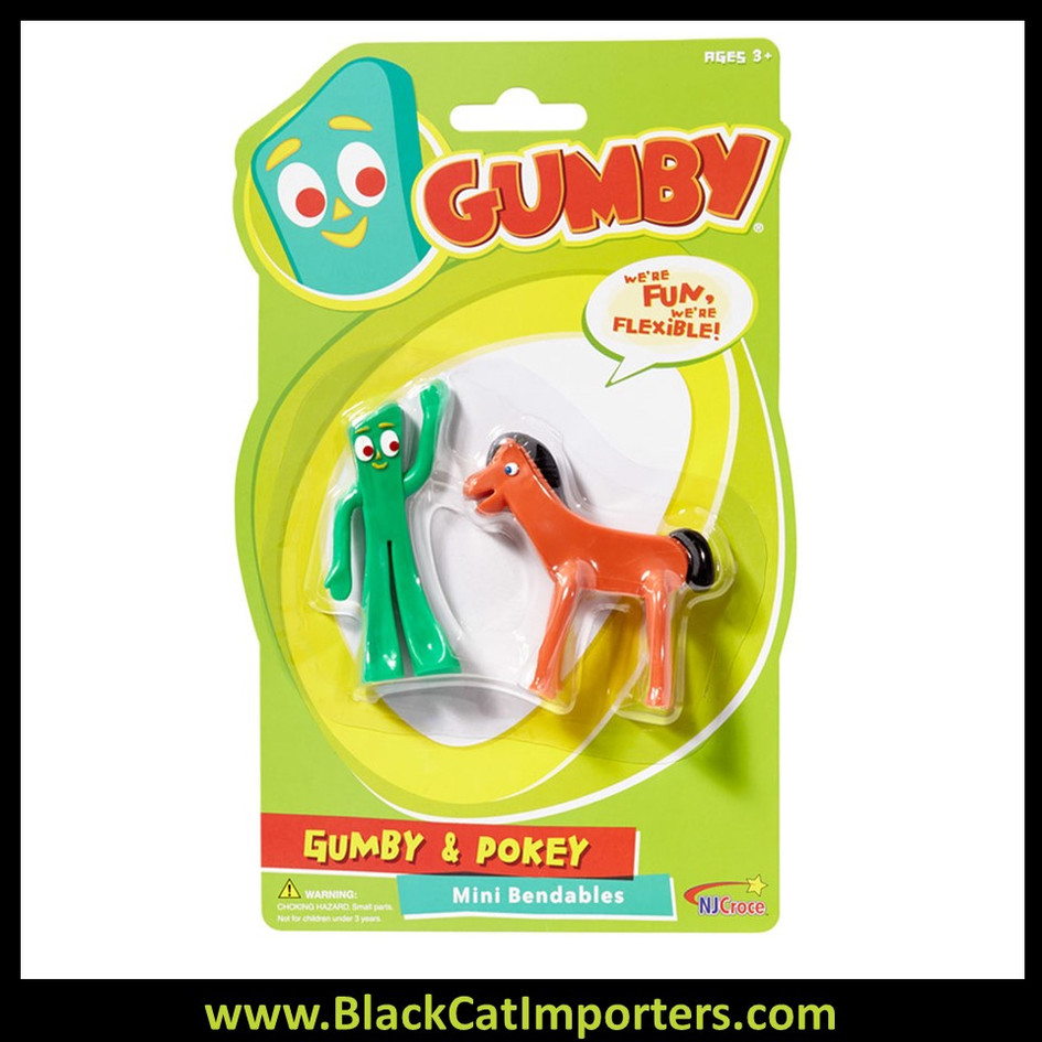 Gumby and Pokey Mini Bendable Pair 4 Pcs / Pack