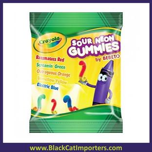 Crayola Fun Peg Bag Sour Neon Gummy Worms 3.5oz 12ct