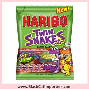 Haribo Gummies / Twin Snakes Sweet & Sour / Peg Bag