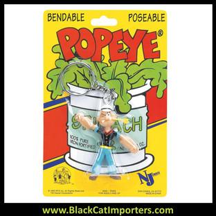 Popeye Bendable Keychain - Popeye 4 Pcs/Pack