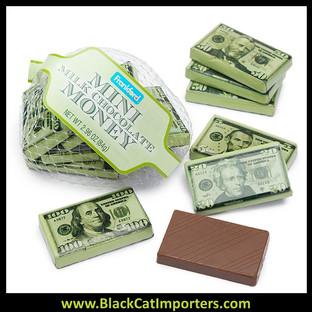 Foiled Milk Chocolate Money Mini Bars in Mesh Bags 2.96oz 18ct