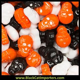 Orange, Black & White Candy Skulls: 5LB Bag