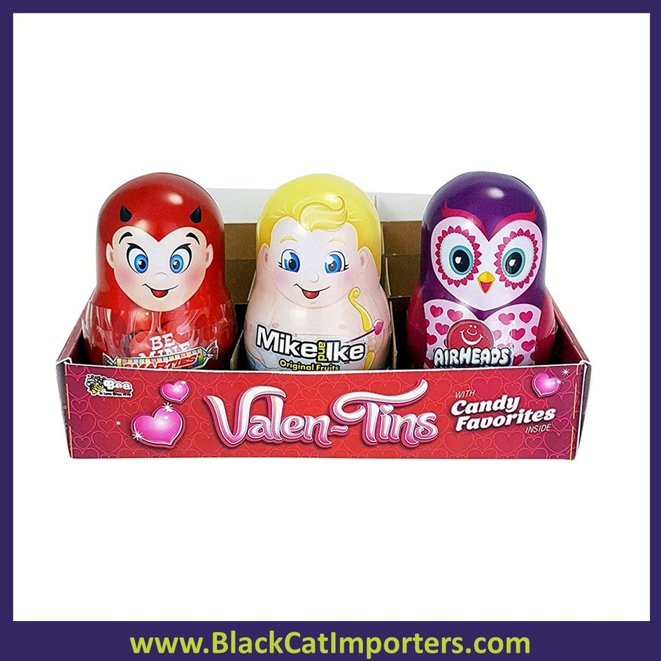 Valentine Tins w/Airheads, Mike & Ike, Smarties  12ct